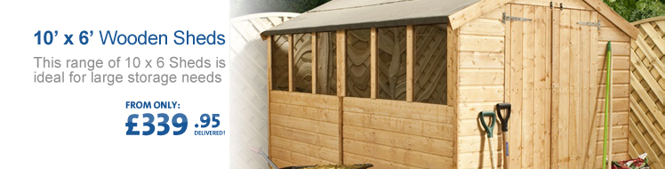 View all of our 10' x 6' Wooden Sheds below