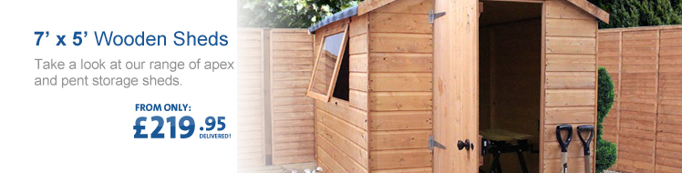 View all of our 7' x 5' Wooden Sheds below