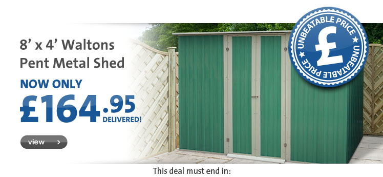 8' x 4' Pent Metal Shed