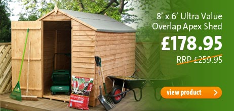 Click here - 8' x 6' Ultra Value Overlap Apex Shed